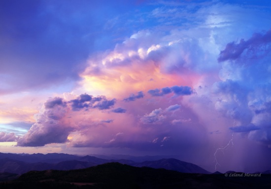 Idaho, central, lightning storm over the White Cloud Mountains at sunset
